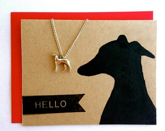 Greyhound Necklace Silver % to Animal Rescue Whippet Italian Greyhound Lurcher Lover Dog Pendant Gift Wrapped Animal Pet Sympathy Girl Teen