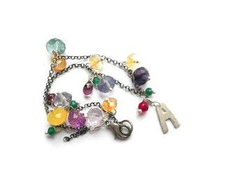 Sterling silver bracelet, charm bracelet, rainbow bracelet, personalized bracelet with A letter, friendship bracelet with gemstones