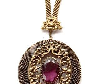 Antique Purple Glass Brass Pendant Necklace Wedding Mad Men Antique Jewelry
