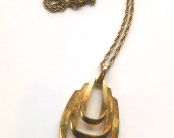 Crown Trifari Modernist Pendant Necklace