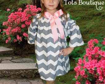 Grey Chevron Dress with Pink Bow