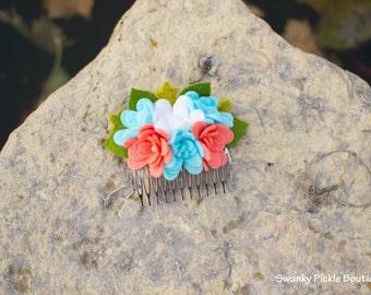 Felt Flower Hair Comb - Coral Aqua White - Spring Hair Accessory - Summer - Women - Teen Girls - Wedding Hair Accessory - Wool Felt