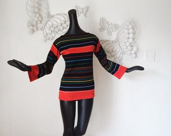 Vintage 70s Tunic Sweater Groovy 1970s Striped Boatneck Boat Neck Bell Sleeve MOD Hippie Boho Tunic Top Bateau Neck Carnaby Street Twiggy SM