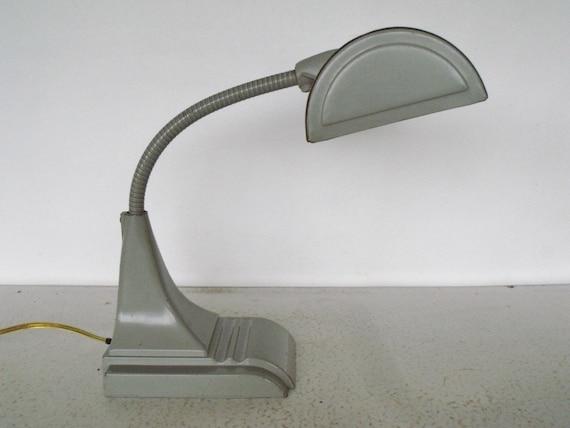 Industrial Desk Lamp Gooseneck Fluorescent Shop Light Grey