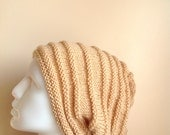 Men Creme  Slouchy Knit Hat  - Unisex  Vanilla Chunky Beanie - Oversize Beret - Fall Winter Fashion