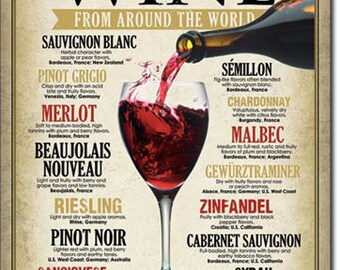 Wine From Around the World Metal Tin Sign Bar Pub Restaurant Decor Wine Connoisseur Collectors Item
