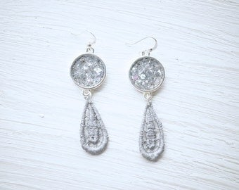 Silver Glitter and Resin with Grey Lace Earrings