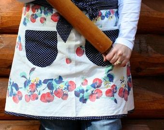 Half Apron, Summer Berries, Faded Red, Mint Green, Navy Polka Dots, Vintage Linens, Repurpose