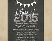 Chalkboard Graduation Party Invitation - Black White and Glitter Commencement Announcement