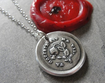 Wax Seal Necklace Your Sweetness Is My Life antique wax seal charm jewelry - inspirational love motto by RQP Studio