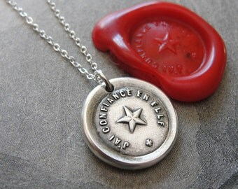 North Star Wax Seal Necklace - antique wax seal charm jewelry with Guiding Star Polaris French motto I Trust It by RQP Studio