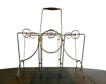 Vintage Magazine Rack Brass Mid Century Home Decor Circular Design
