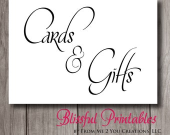 Wedding Gift Table Sign Template : ... and Gifts Sign in BLACK PDF, Cards Wedding Sign, Gifts Wedding Sign