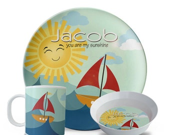 Personalized Plate Set, Sailboat Plate, 3 Piece Set, Plate, Bowl, Mug Set, Personalized You Are My Sunshine Birthday, Melamine Dish