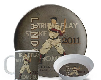 Personalized Melamine Plate Set, Personalized Baseball Plate, 3 Piece Set, Plate, Bowl, Mug Set, Children's Melamine Birthday Cake Plate Set