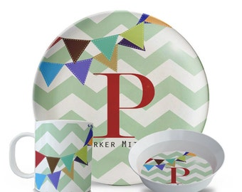 Personalized Plate Set, Melamine Chevron Plate, Bowl, Mug, Personalized Children's Monogram Banner Plate Set