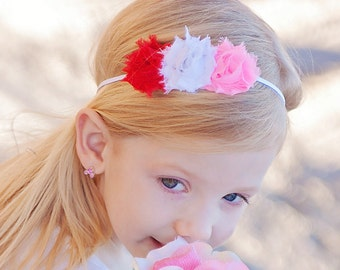 Valentine's Day headband - red and pink flower band - spring flower headband