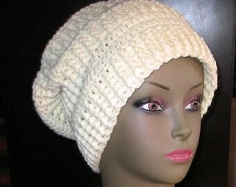 Oversized Uni-Sex Super Slouchy Hat : Crochet - French Vanilla