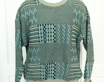 80s 90s Vintage Men's Winter Sweater - PRONTO-UOMO - blue black diamonds