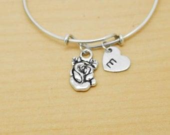 Rose Bangle, Sterling Silver Bangle, Rose Bracelet, Bridesmaid Gift, Personalized Bracelet, Charm Bangle, Monogram, Initial Bracelet