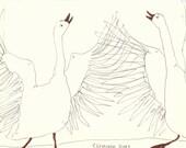 TWO GEESE original pen drawing by Elisaveta Sivas // 5,5 x 7,5'