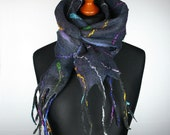 Elegant Anthracite Multicolor felt scarf for woman - Felted Textured dark gray Shawl Scarf - OOAK Gift For Her - Black wool scarf shawl