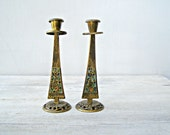 Vintage Israel Oppenheim Sabbath Candlesticks, Ornate Enamel Brass Shabbath Candle holders, Judaica Israel Metalware, Friday Jewish Ritual