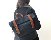 """Waxed Canvas Backpack in Black - Adjustable Cotton Straps - Zippered Foldover Closure - Leather Accessories - 15"""" Laptop - Waterproof Bag"""