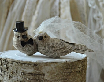 Burlap birds wedding cake topper-burlap birds-rustic wedding-burlap- wedding cake topper-rustic burlap birds-western wedding-country western