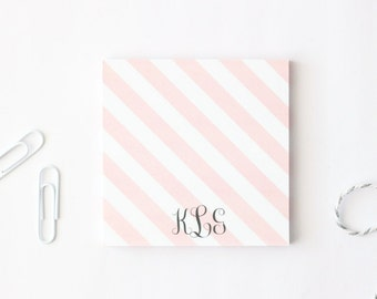 Custom Sticky Notes Personalized Post It Notes Light Pink Stripe Small Memo Pad Sticky Notepad Office School Supplies Teacher Gift / Set of