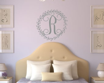 Monogram Decal - Name Wall Decal - Personalized Monogram Wall Decal - Baby Girl Vine Monogram