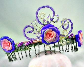 Hand Beaded Flower Bridal Headpiece, Flower girl, Tiara, Crown, Pink & Purple, Fantasy Crown, Princess Tiara, Whimsical Fairy Tale
