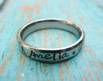 Name Ring, Stackable Ring, Silver Name Ring, Wedding Band, Wedding Ring, Promise ring, Mother's ring, Stacking ring, stainless steel ring