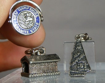 Vintage Charm Collectible Three Sterling Silver New Hampshire Charms Lot of 3 Marked In Great Condition Each With Clasps DanPickedMinerals