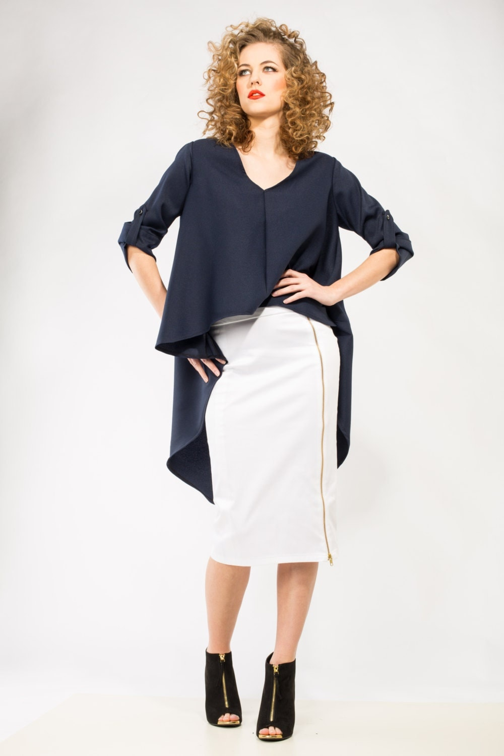 white cotton fitted pencil skirt with slit and