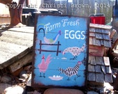 Chicken Coop Sign Retro style indoor or outdoor wooden yard art 12 x 16 Farm Fresh Eggs