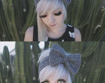 Persephone - Handmade Crochet Bow Headband
