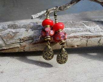 Red Earrings Polka Dot Earrings Lampwork Beads
