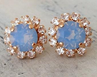 Rose gold Blue opal crystal stud earrings, Bridal earrings, Bridesmaids jewelry, Swarovski Crystal earrings, light opal, Sky blue studsblue