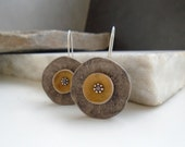 Anemone grey yellow mustard polymer clay earrings  rustic poppy  jewelry distressed  organic floral abstract sterling silver