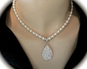 Pearl necklace ~ Crystal rhinestone teardrop pendant ~ Tons of sparkle ~ Swarovski pearls and crystal roundels ~  Wedding necklace ~ Prom
