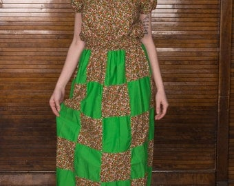 Vtg 70s Maxi Peasant Patchwork Dress / Holly Hobby