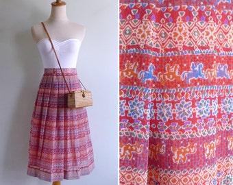 Vintage 80's Red Batik Floral Novelty Horse Print Pleated Skirt M or L W30