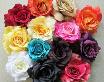 Deluxe Silk Rose Hair Flower Clip & Pin - 17 Color Choices!