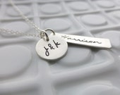 Silver Family Necklace - Hand Stamped - New Baby Necklace - Gift for Mom - Mom from Daughter - Custom Name Necklace - Child Name Jewelry