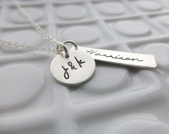 Us & Ours - - Hand Stamped Necklace - - Personalized Sterling Silver