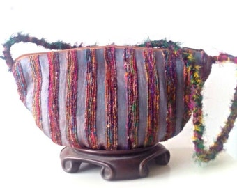 Statement Purse / Luxurious Handwoven Silk with Genuine Leather Purse / Evening Bag / Silk Clutch / Silk Shoulder Bag