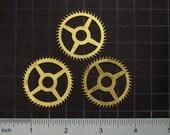 3 vintage brass gears, antique clock movement gears, brass clock wheels Steampunk Supplies 3617