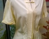 Reserved for Sandy SALE Vintage 1950's EGYPTIAN REVIVAL Cotton Shirt novelty Blouse Butter yellow