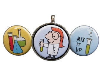 Mad Scientist Pendant - Set of 3 Interchangeable Necklaces - Girl Scientist or Boy Scientist
